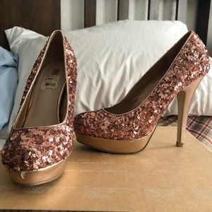 Rose Gold Sequins Heels